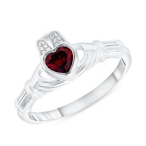 Jewelry - 925 SILVER RED CZ CLADDAGH RING